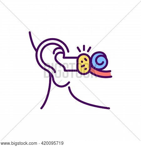 Earwax Blockage Rgb Color Icon. Softening Wax. Fullness Feeling. Buildup, Damage In Ear Canal. Earac