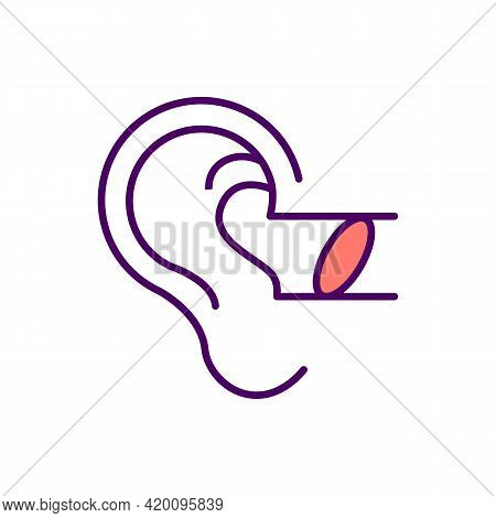 Foreign Bodies In Ear Rgb Color Icon. Auditory Canal Blockage. Obstacle With Cotton Swabs, Small Toy