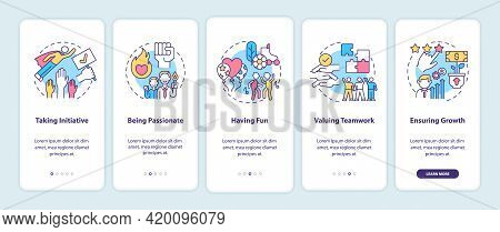 Basic Corporate Core Values Onboarding Mobile App Page Screen With Concepts. Initiative, Passion Wal