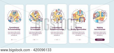 Corporate Core Values Onboarding Mobile App Page Screen With Concepts. Commitment To Innovation Walk