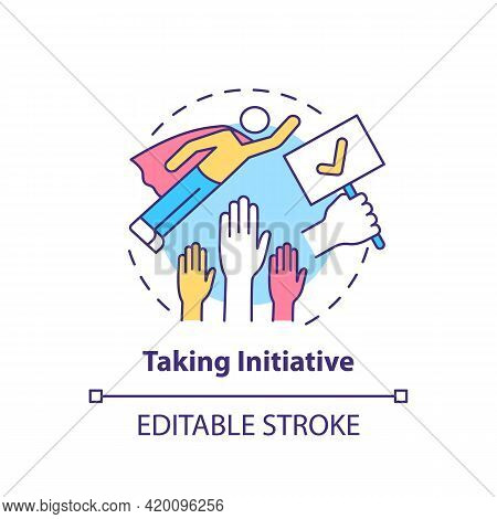 Taking Initiative Concept Icon. Basic Corporate Core Value Idea Thin Line Illustration. Being Proact