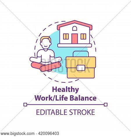 Healthy Work-life Balance Concept Icon. Personal Value Idea Thin Line Illustration. Dividing Persona