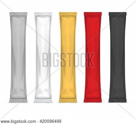 Realistic Detailed 3d Color Sachet Stick Set. Vector