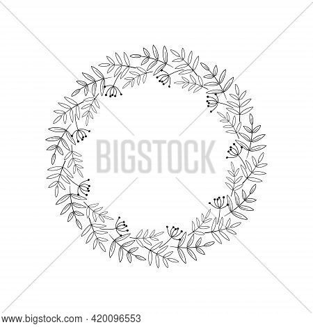 Beautiful Wreath Of Autumn Leaves, Twigs With Berries. Festive Floral Frame. Decorative Border. Blac