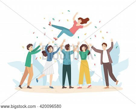 Cartoon Color Characters Tossing Air People Group Concept. Vector