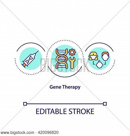 Gene Therapy Concept Icon. Modern Medical Testing Fields. Special Clinical Help For Dealing With Dis
