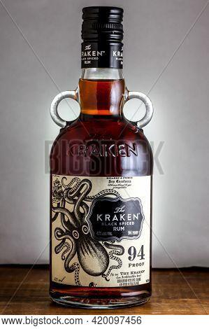 Bottle with Kraken black spiced rum close up