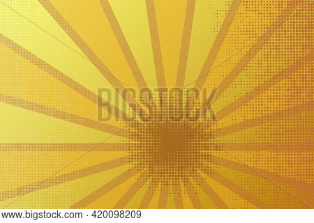 Retro Rays Comic Yellow And Brown Background Raster Gradient Halftone And Dotted Shades Pop Art Styl