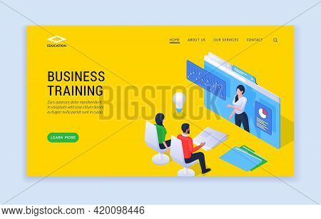 Business Training Concept Isometric Illustration. Modern Landing Website Template Offering Contempor