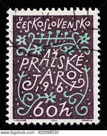 ZAGREB, CROATIA - SEPTEMBER 18, 2014: Stamp printed in Czechoslovakia shows Prague Spring Music festival, circa 1967
