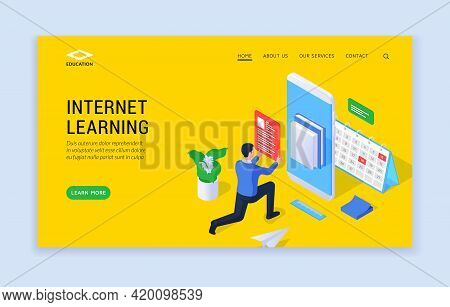 Internet Learning Concept. Three Dimensional Landing Page Website Template With Male Student Using G