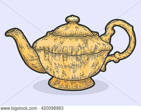 Teapot Vintage. Sketch Scratch Board Imitation Color Yellow.