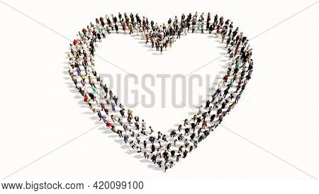Concept conceptual large community of people forming the  like icon. 3d illustration metaphor for love, popular, trendy, health, romance and marriage