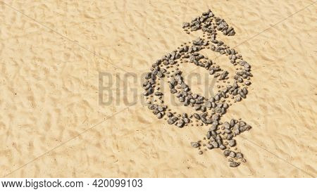 Concept conceptual stones on beach sand handmade symbol shape, golden sandy background, gender signs . A 3d illustration metaphor for heterosexual relationships, couples, romance and family