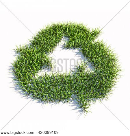 Concept or conceptual green summer lawn grass symbol isolated white background, recycle sign. 3d illustration metaphor for recycling, waste reduction, conservation and protection of the environment