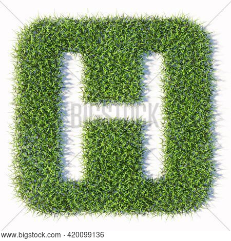 Concept or conceptual green summer lawn grass symbol isolated white background, hospital sign. 3d illustration metaphor for health care, medical treatment, diagnosis, physician, emergency or surgery