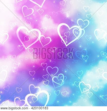 A Pretty Love Heart Background Design With Dreamy Clouds And Stars.