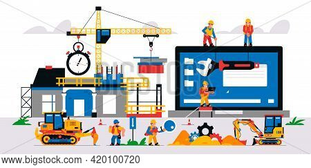 Website Development At A Construction Site. Vector Illustration With Elements Of Construction Equipm