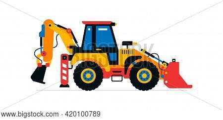 Construction Machinery, Tractor, Excavator, Loader. Commercial Vehicles For Work On The Construction