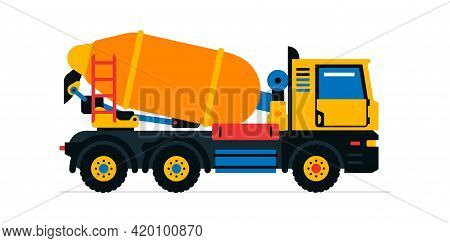 Construction Machinery, Concrete Mixer. Commercial Vehicles For Work On The Construction Site. Vecto
