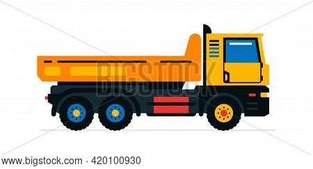 Construction Machinery, Truck. Commercial Vehicles For Work On The Construction Site. Vector Illustr