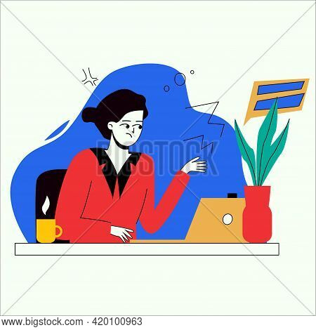 Woman Working With Computer. Concept Illustration, Working Process, Freelance, Office, Work From Hom