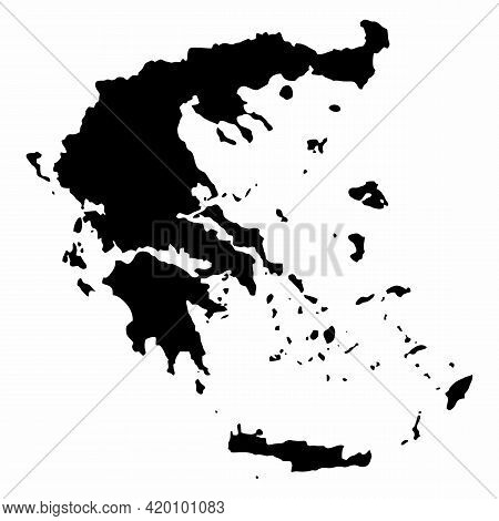 Greece Dark Silhouette Map Isolated On White Background