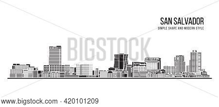 Cityscape Building Abstract Simple Shape And Modern Style Art Vector Design -  San Salvador City