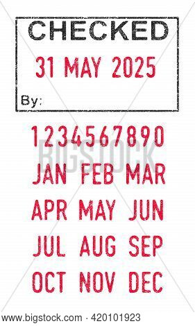 Vector Illustration Of The Checked Stamp And Editable Dates (day, Month And Year) In Ink Stamps