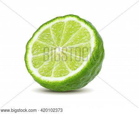 A Half Of Bergamot Or Kaffir With Seeds Isolated On White Background