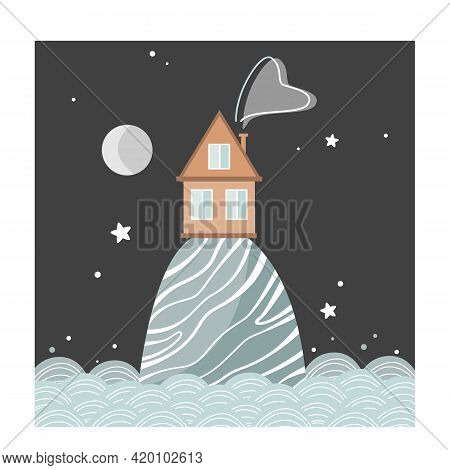Stylish Card With Cartoon House On The Hill At Night, Scandinavian Style. Vector Illustration Isolat