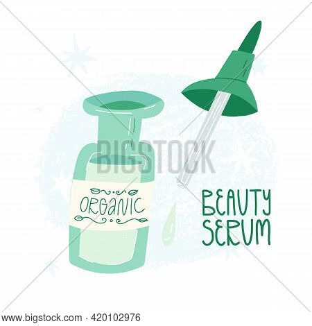 Beauty Serum In Glass Bottle With A Pipette. An Organic Liquid Emulsion For The Face Skincare. Clean