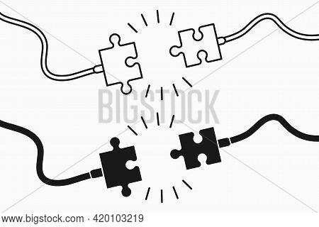 Electric Plug And Socket In Puzzles Pieces Form. Unplugged Electric Plug With Wire Cable And Socket