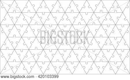 Puzzles Grid - Blank Template With Pieces In Triangle Shape. Jigsaw Puzzle With Triangle Geometric P