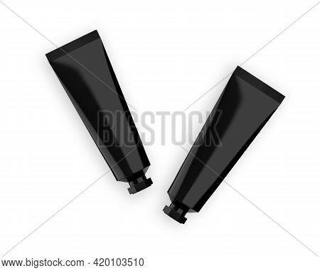 Black Glossy Plastic Tube For Cosmetics - Beauty Cream, Gel, Skin Care, Moisturiser, Toothpaste. Pac