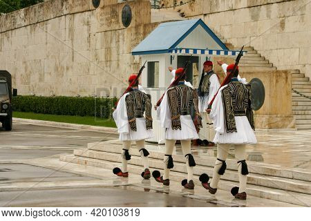 Athens Greece, June 12, 2006: Geek Soldiers Of The Presidential Guard At The Tomb Of The Unknown Sol