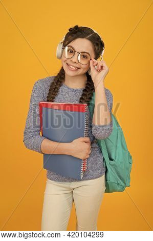 Teen With Backpack. Cute Smiling Schoolgirl. Girl Little Schoolgirl Carry Backpack. Pupil Going To S