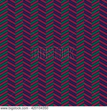 Seamless Pattern. Repeated Zigzag Lines, Herringbone Ornament. Jagged Stripes. Waves Ornate. Curves