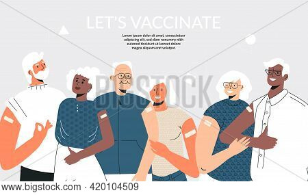 Senior People After Vaccinate Concept Vaccination Of The Elderly. Group Of Diverse Mature Couple Sta