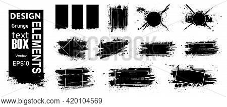 Paint Grunge Compositions With Frame, Texting Boxes. Black Grunge With Frame For Logo. Dirty Design