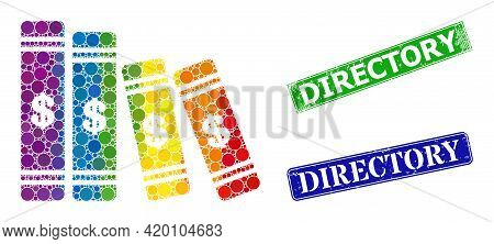 Spectrum Colorful Gradiented Round Dot Collage Accounting Books, And Directory Dirty Framed Rectangl