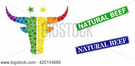 Spectral Colored Gradient Rounded Dot Mosaic American Beef Logo, And Natural Beef Rubber Framed Rect