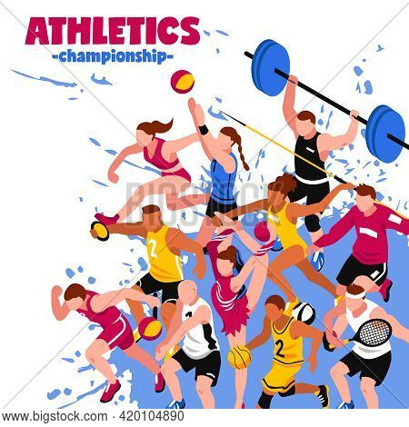 Colorful Sport Isometric Poster With Active Players Sportsmen And Athletes On Splash Background Vect