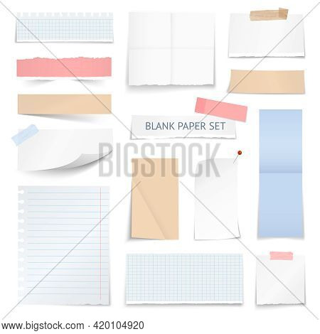 Blank School Notebook Page Strips Graph Paper Notes With Shadow Curled Edge Effect Realistic Samples
