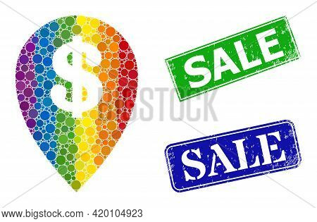Spectral Colorful Gradient Circle Collage Bank Map Marker, And Sale Unclean Framed Rectangle Stamp S