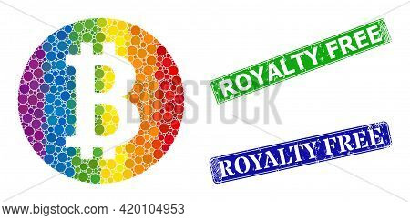 Spectral Colored Gradiented Round Dot Mosaic Bitcoin Coin, And Royalty Free Dirty Framed Rectangle S