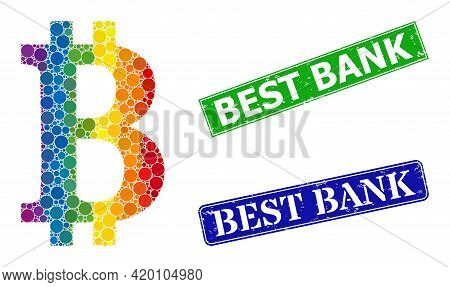 Spectrum Colorful Gradient Round Dot Mosaic Bitcoin Symbol, And Best Bank Grunge Framed Rectangle Se