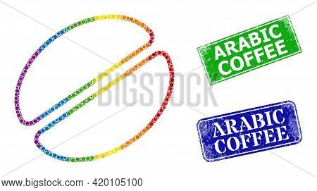 Rainbow Colorful Gradiented Circle Collage Cacao Bean, And Arabic Coffee Dirty Framed Rectangle Stam
