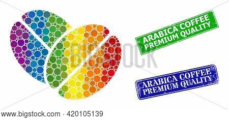 Rainbow Colorful Gradiented Rounded Dot Mosaic Cacao Beans, And Arabica Coffee Premium Quality Dirty