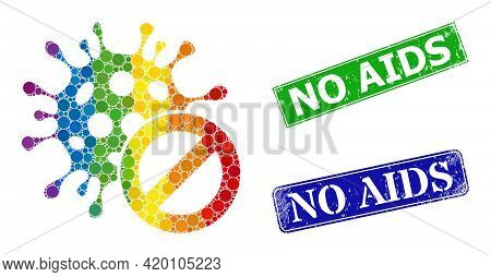 Spectrum Colored Gradiented Circle Collage Cancel Coronavirus, And No Aids Dirty Framed Rectangle Se